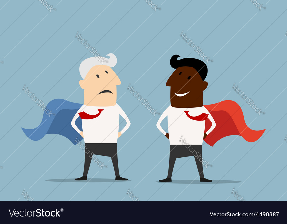Superhero businessmen standing facing each other vector