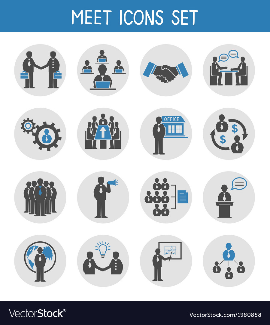 Flat business people meeting icons set vector