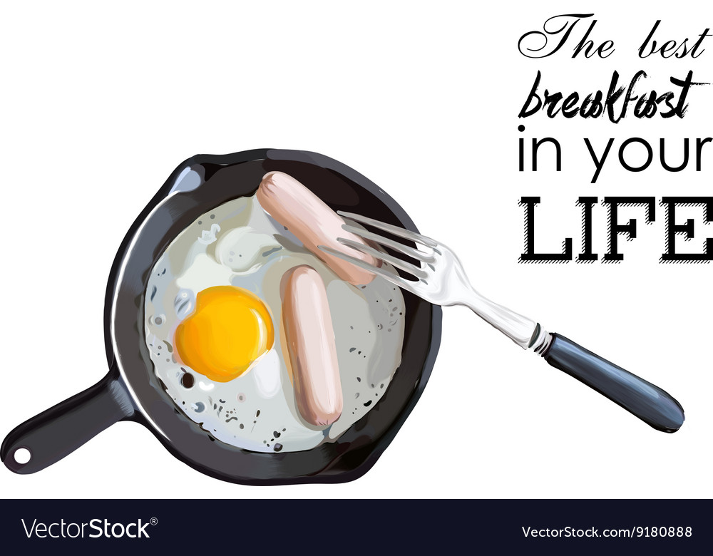 Fried eggs and sausage on pan food ingredients vector