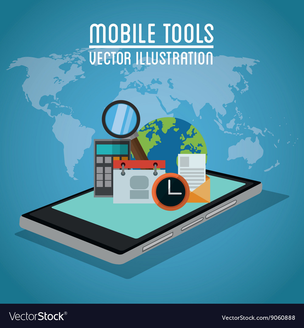Mobile tools icon set design vector