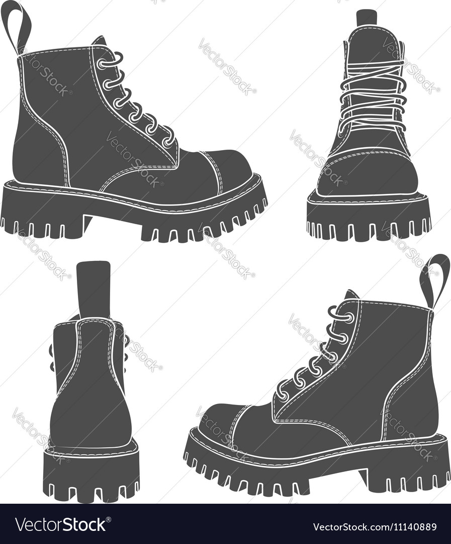 Set of drawings with boots vector