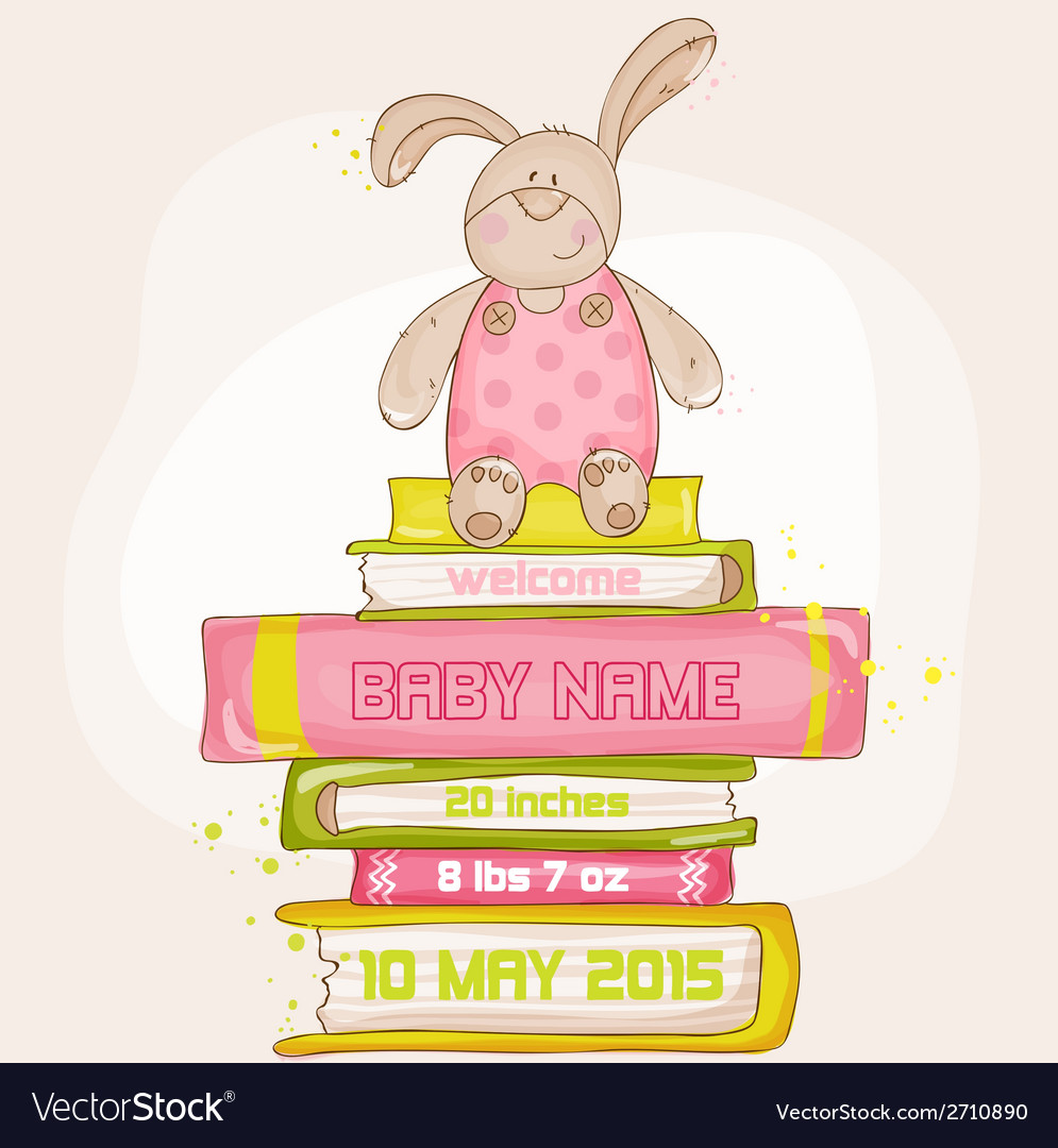 Baby bunny shower or arrival card vector