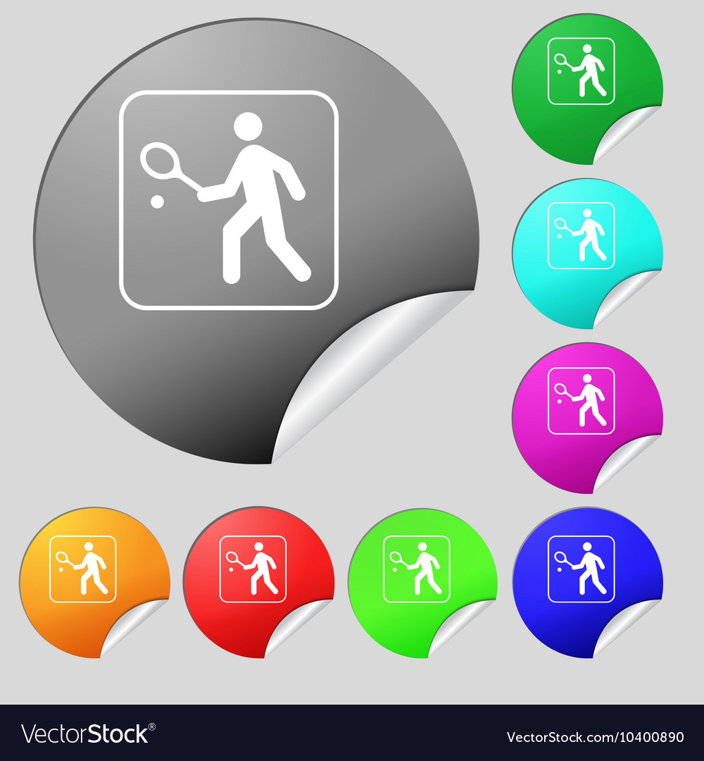 Tennis player icon sign set of eight multi colored vector
