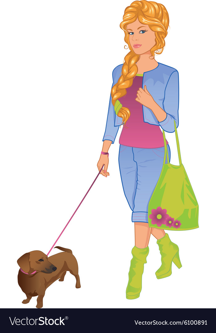 Girl walking with her dog vector