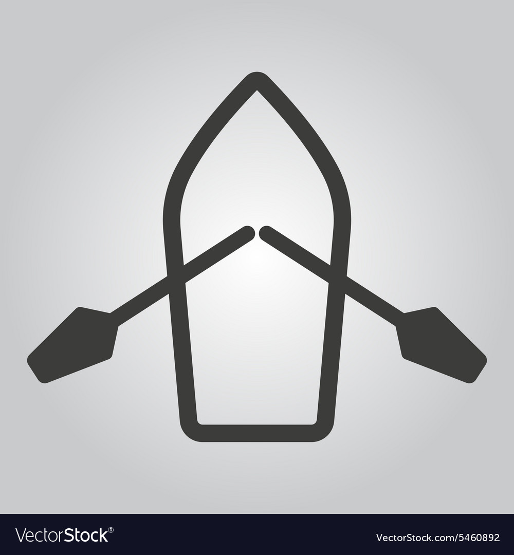 Boat and oars icon skiff and paddle symbol vector