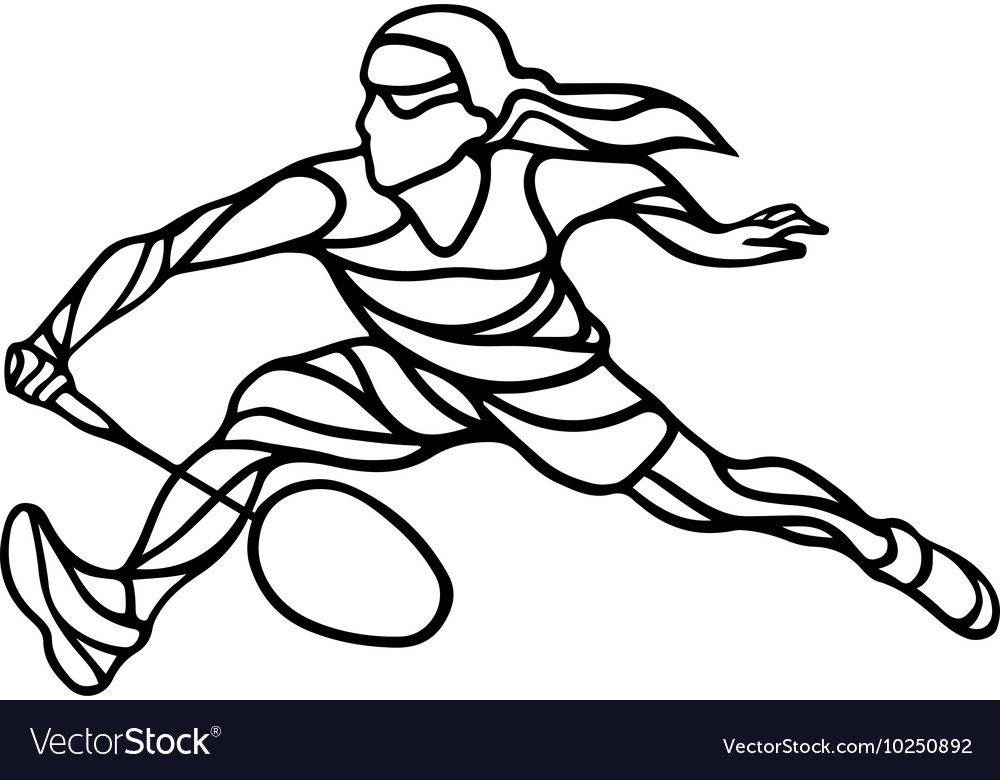 Creative silhouette of abstract female badminton vector