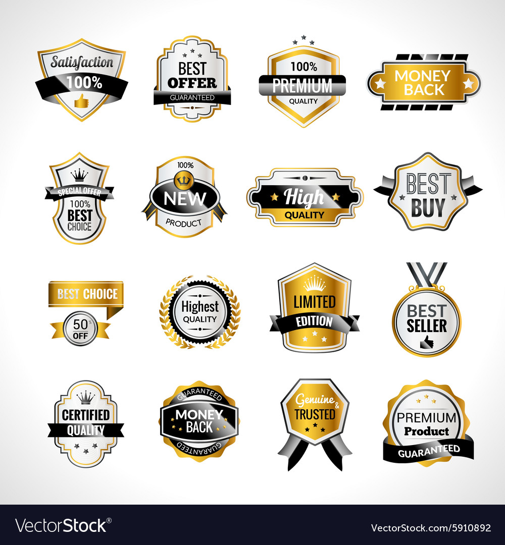 Luxury labels gold and black vector