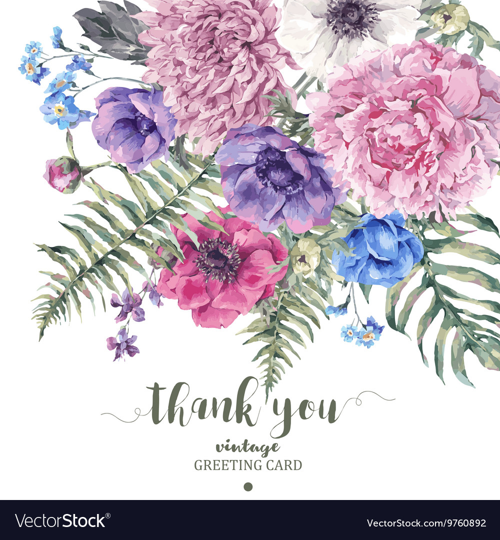Vintage floral greeting card with anemones vector