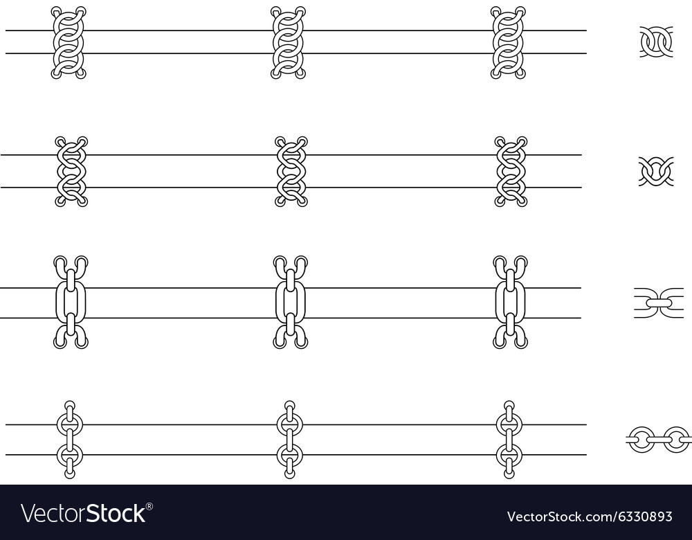 Chains web page dividers contour lines vector