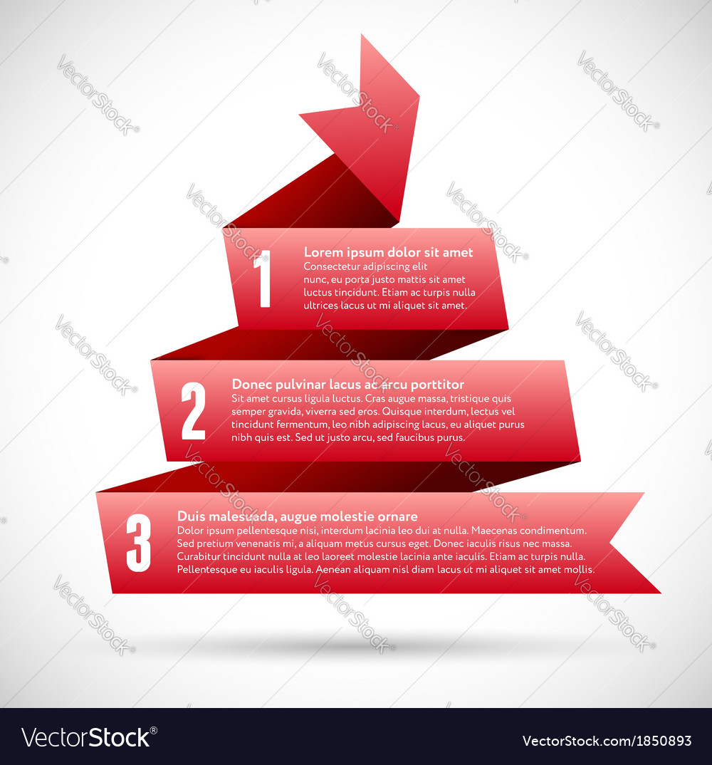 Infographic with red spiral pyramid ribbons vector