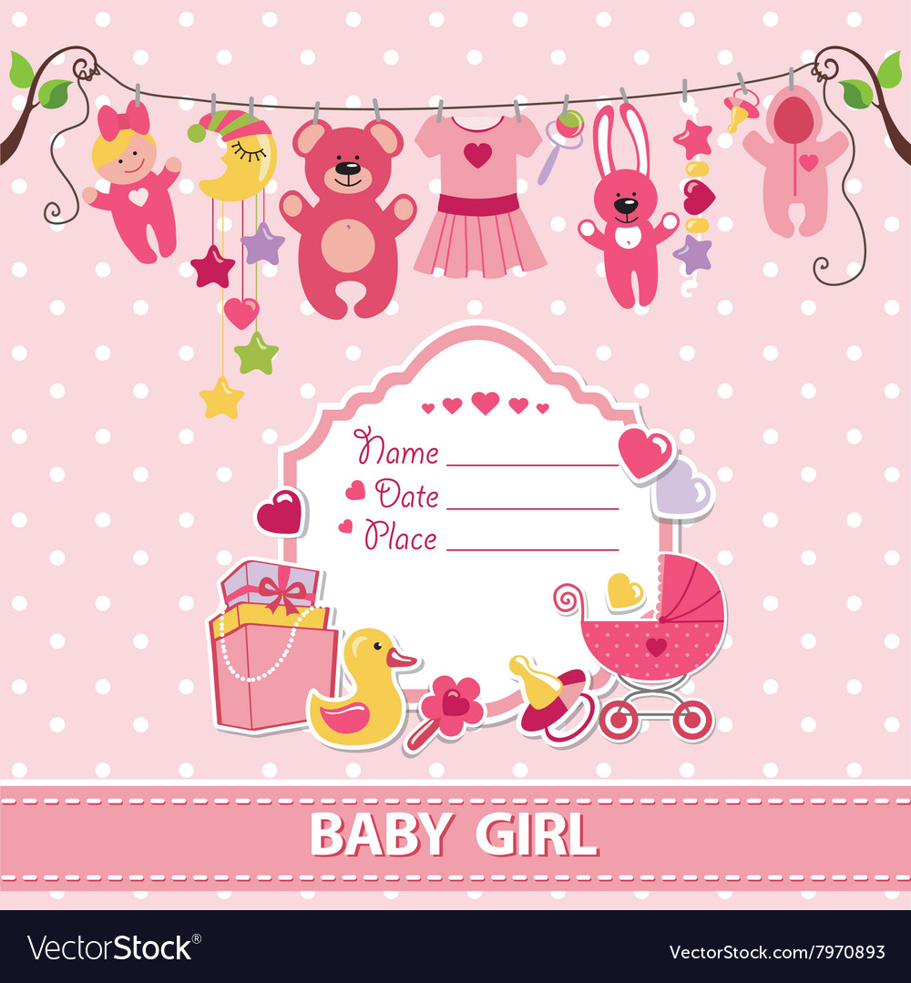 New born baby girl card shower invitation template vector