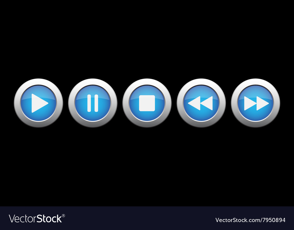 Blue metal button with music control buttons vector