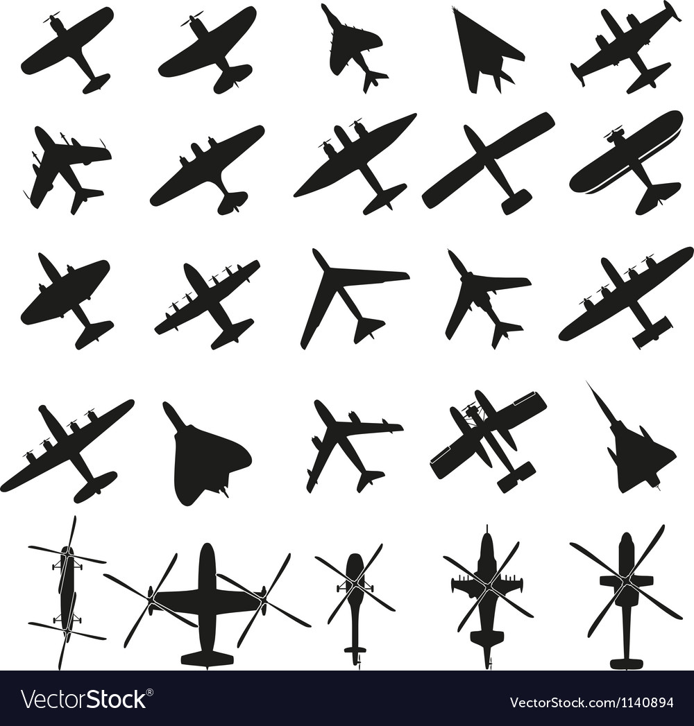Icons set airplanes vector