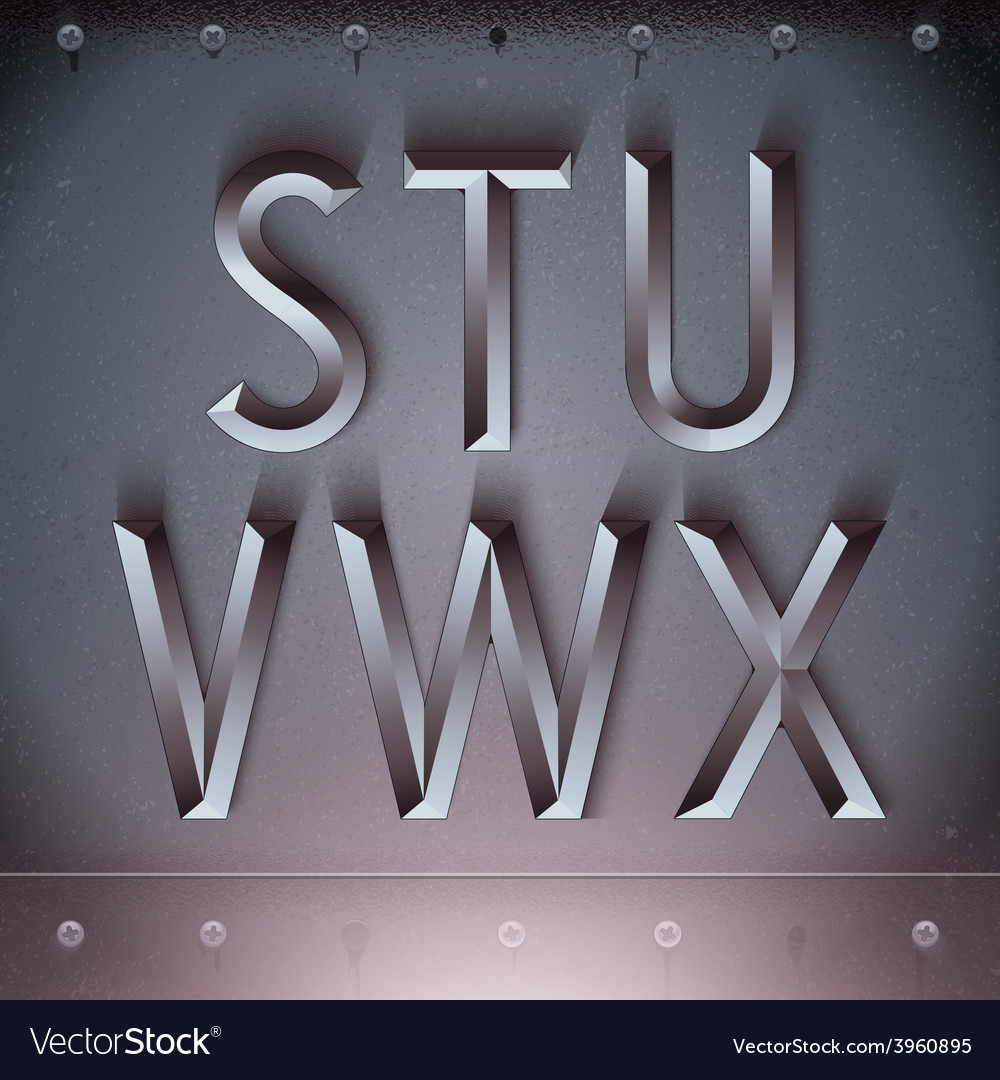 Metal embossed font from s to x vector