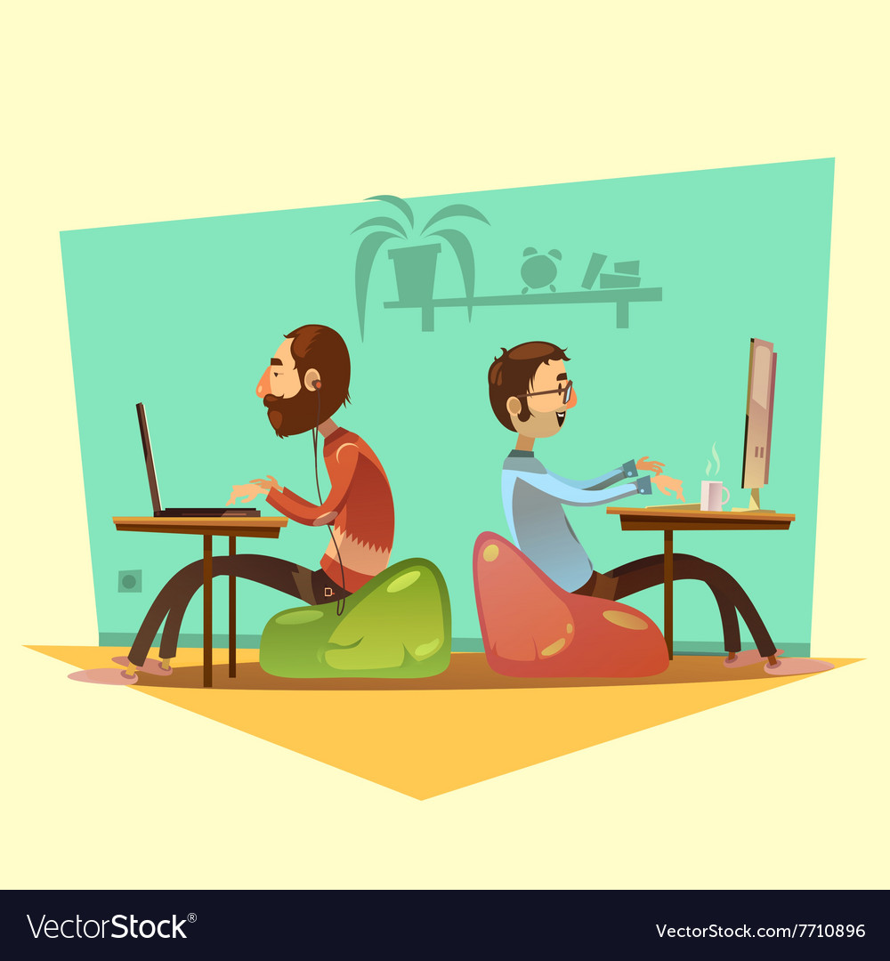 Coworking cartoon set vector
