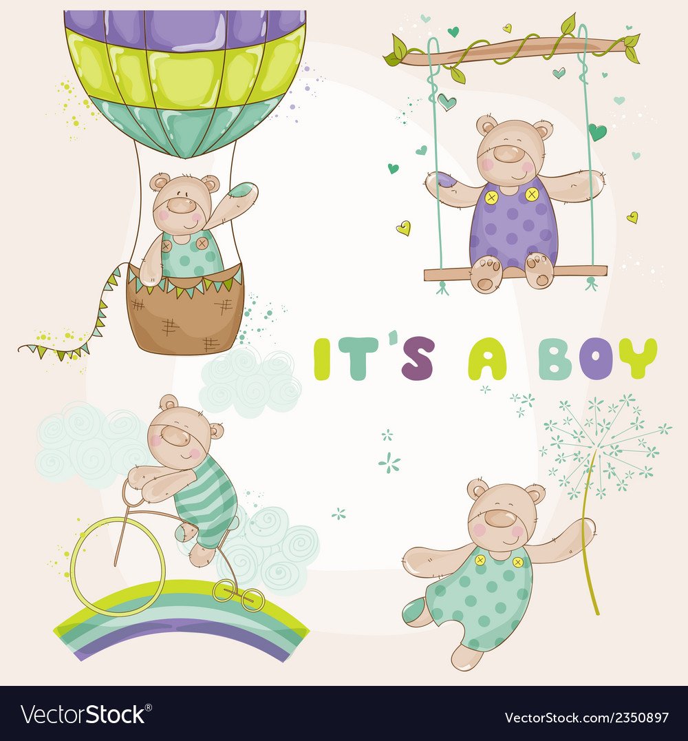 Baby bear set  baby shower or arrival card vector