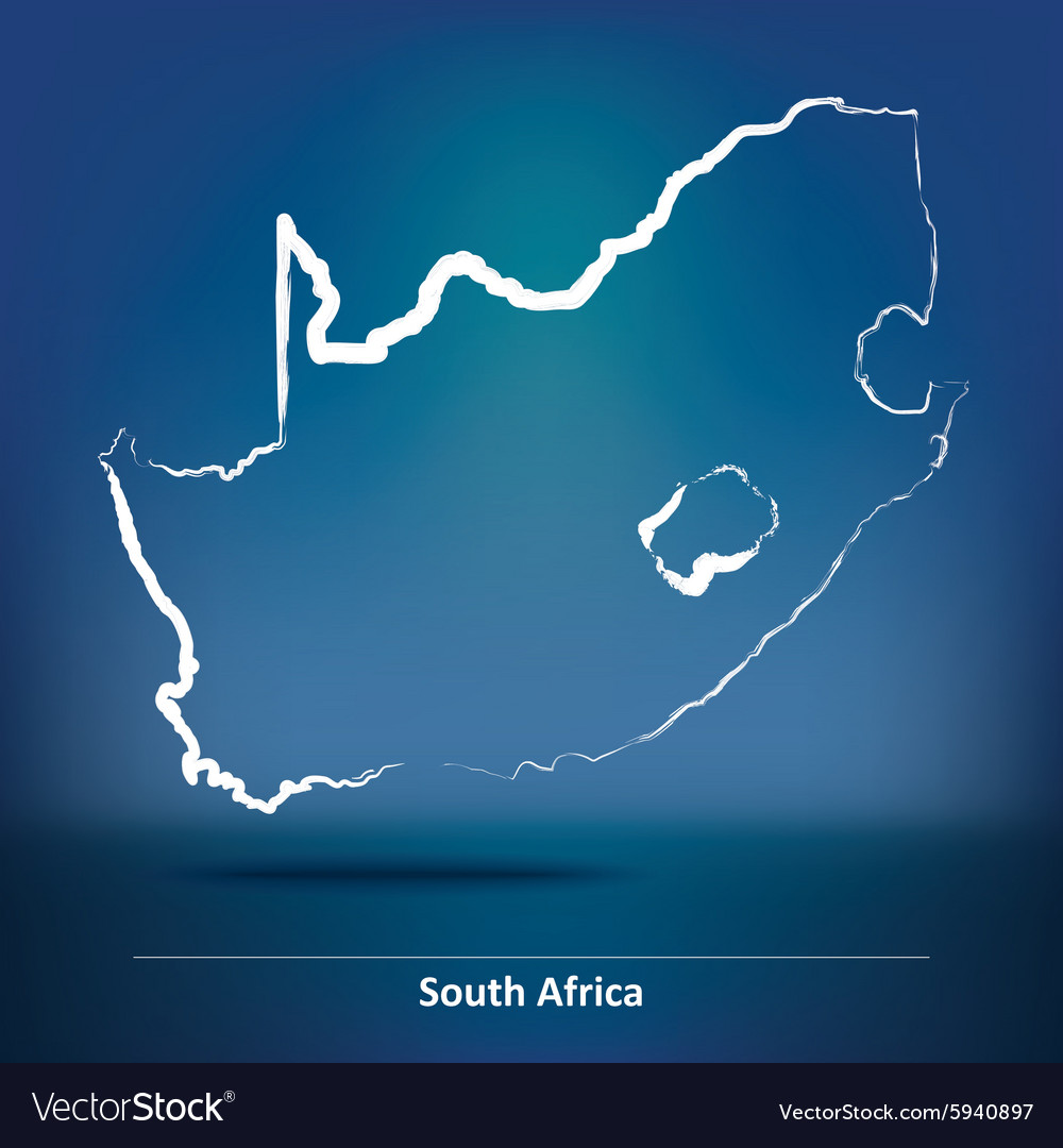 Doodle map of south africa vector