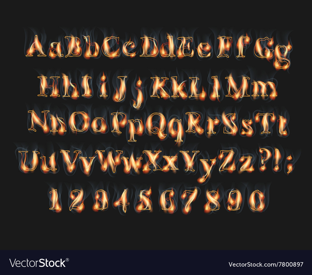 Fire burning alphabet and numbers font vector