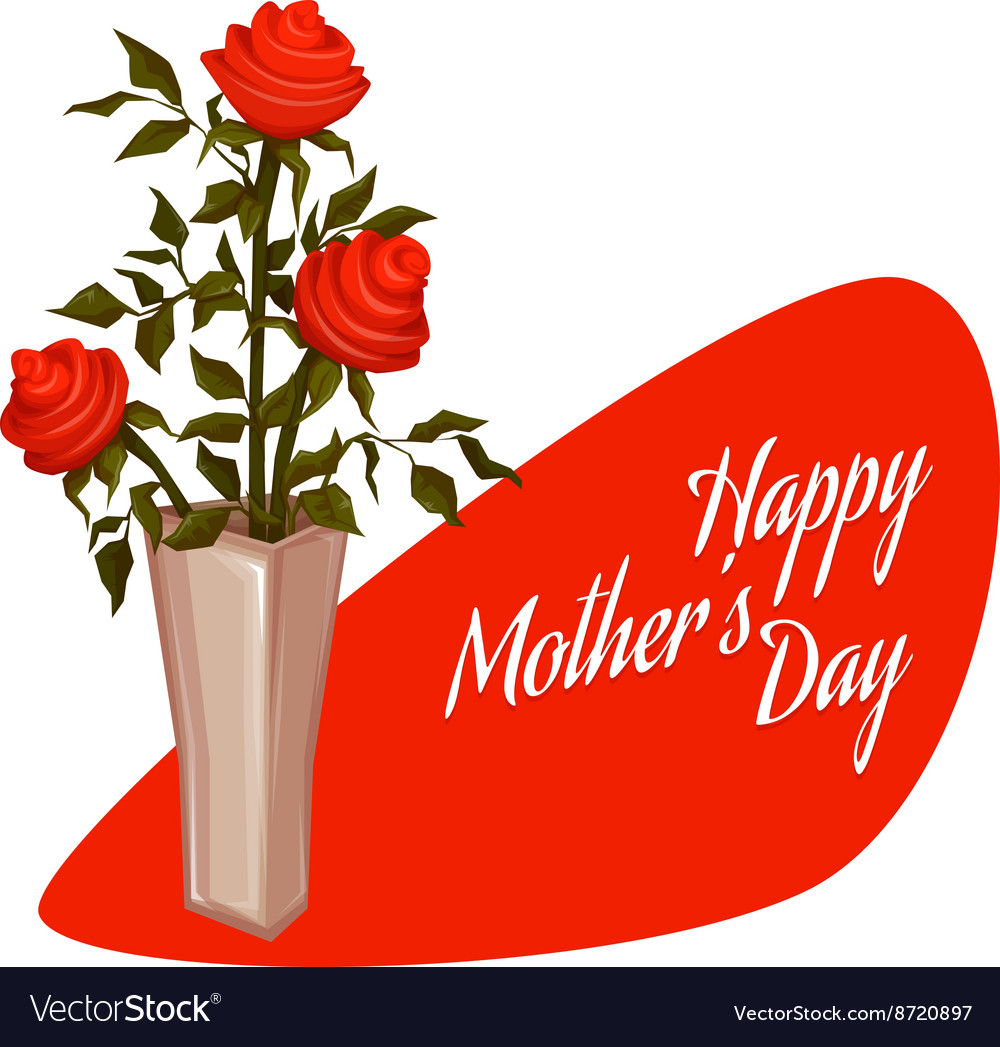 Happy mother day with bouquet vector