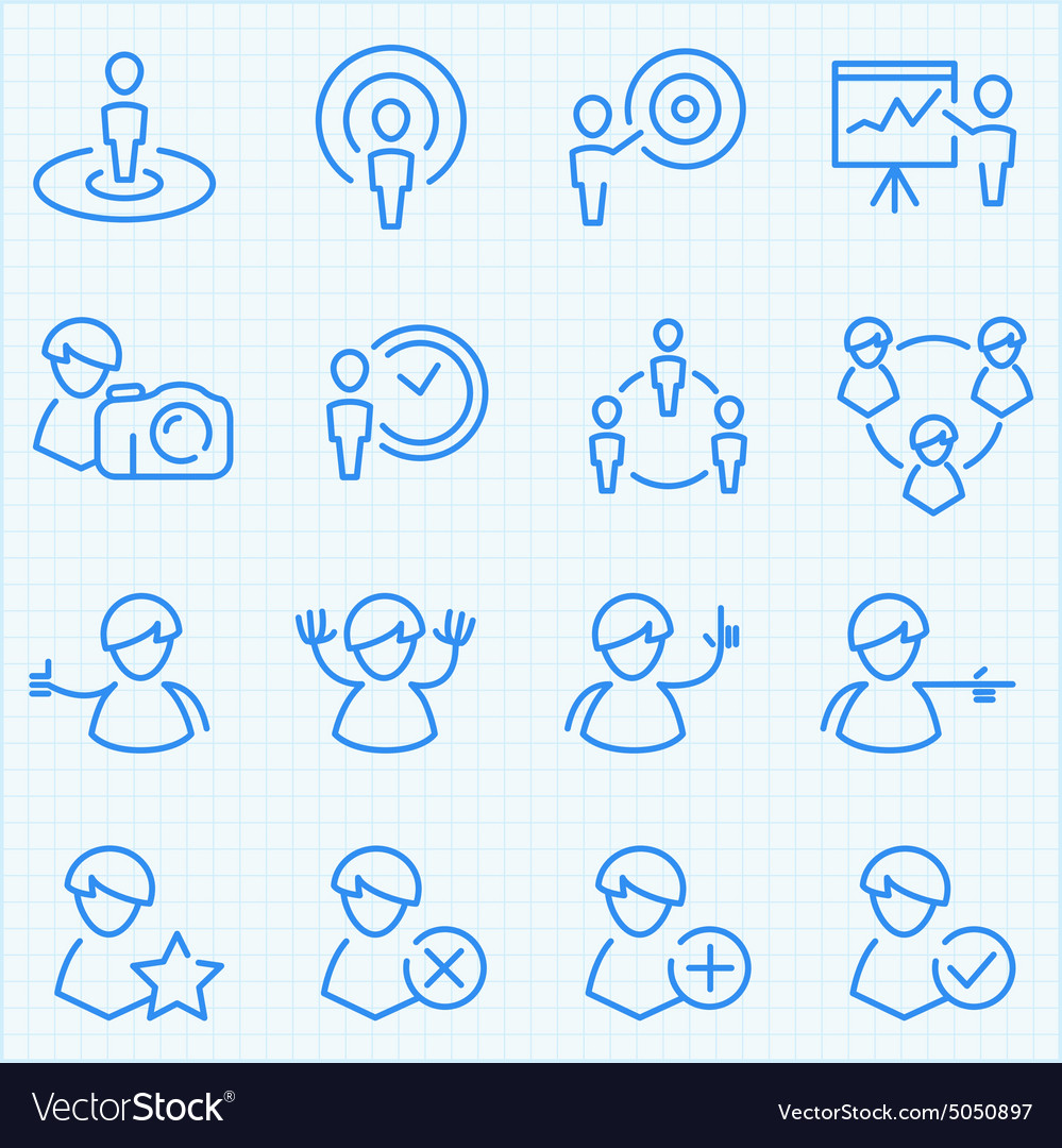 Universal gui people theme icons set vector