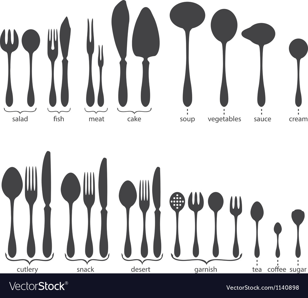 Set of cutlery icons vector