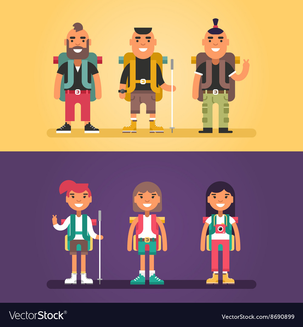 Hiking concept set of flat style cartoon vector