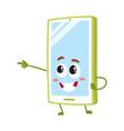 cartoon mobile phone smartphone character vector image