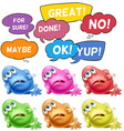 Monsters and speech bubbles vector image vector image
