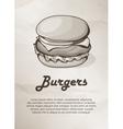 Burger Vintage Menu Label Logo Frame vector image