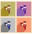 Set of flat web icons with long shadow pair lovers vector image