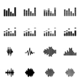 black music soundwave icon set vector image