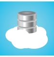 cloud database with clouds and data base vector image