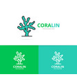 coral logo unique reef and seafood vector image