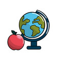 earth planet desk and apple icon vector image
