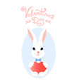 funny bunny with a heart greeting card for vector image