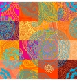 Orange patchwork with ornament vector image
