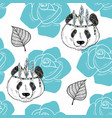 seamless pattern with cute panda as a native vector image