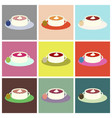 set icons in flat design soup with dried fruits vector image