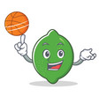 with basketball lime character cartoon style vector image