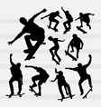 Skateboarder male and female sport silhouettes vector image vector image