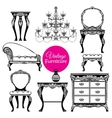Hand Drawn Vintage Furniture Style Set vector image