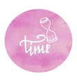 hourglass time watercolor pink spot doodle vector image
