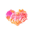 Beautiful watercolor heart with quotes love vector image