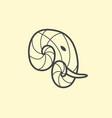 elephant head logo design line art elephant vector image