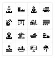 Set icons of seaport vector image