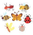 set of cartoon funny bugs vector image