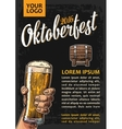 Poster to oktoberfest festival Hands holding beer vector image