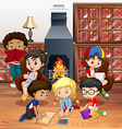 Many children reading books in the room vector image