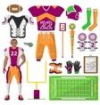 Football icons set sport equipment and uniform vector image
