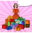 Pop Art Woman with Huge Gift Boxes and Thumbs Up vector image